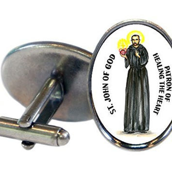 Saint John of God Patron of Healing the Heart Oval Antique Silver Pair of Cuff Links