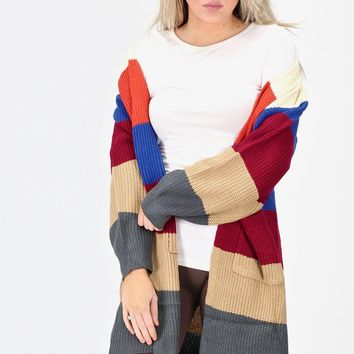 Multi Color Block Knit Cardigan {Ivory Mix}
