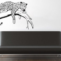 Wall Decal Vinyl Sticker Decals Art Decor Design Lying Leopard Wild Cat Panther Animal Tree Safari Jungle Badroom Living Room (r172)