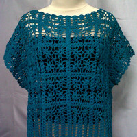 Crocheted Blouse, Spring - Summer Clothing, Wearable Women Clothing, Turquoise Blouse, Women Top