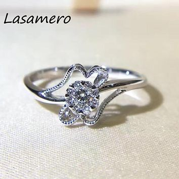 LASAMERO 0.08CT Certified Natural Diamond Ring Accents 18k Gold Real Diamond Engagement Gemstone Ring Jewelry