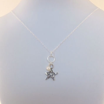 Sterling Silver Double Star With White Freshwater Pearl Necklace