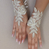 Free ship,champagne gold Wedding gloves  bridal fingerless french lace  gauntlets fingerloop,  lace glove