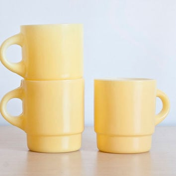 Vintage Fire King Yellow Stacking Mugs, Set of 3 Stackable Coffee Cups Anchor Hocking