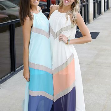Geometric Color Block  Halter Neck Maxi Dress  11512