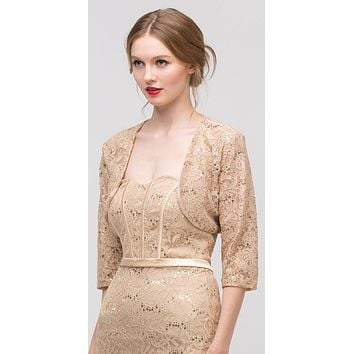 Gold Mid Length Sleeve Lace Bolero Jacket