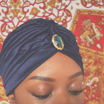 Turban | Navy Blue Embellished Turban| Turban Hat | Head Wrap | Chemo Hat|  Turbanista