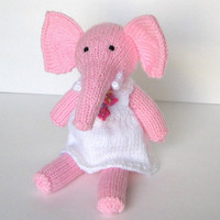"Hand Knit Pink Elephant in Dress - Ready To Ship - Stuffed Animal Child Toy - Plush Stuffed Elephant Doll - Baby Girl Stuffed Toy 11"" Tall"