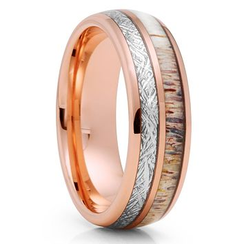 Deer Antler Ring - Meteorite Ring - Rose Gold Tungsten Ring - 8mm