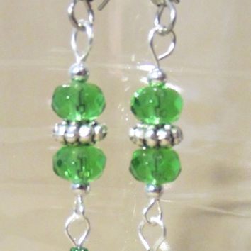 Green Glass & Silver Celtic Inspired Metal Diamond Etched Bead St. Patrick's Day Pierced Dangle Earrings, Handmade Original Fashion Jewelry