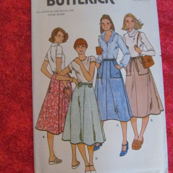 SALE UnCut 1970's Butterick Sewing Pattern, 6022! One Size, Small Medium Large, Women's Skirts, Summer & Spring, Wrap Skirt, Apron Style