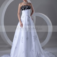 Strapless Embroidered Organza over Satin A Line Wedding Dress with Flower