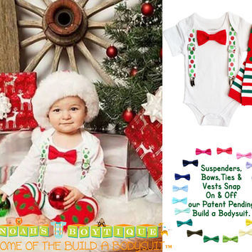 Christmas Outfit Baby Boy Red Green Dot Suspenders Red Bow Tie