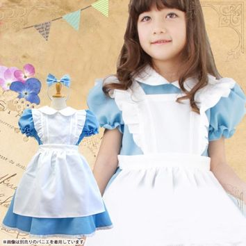 HOT girl cosplay outfit costumes kids Alice in Wonderland clothes Children princess dress knee-length bow ball gown dresses
