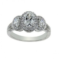 1 1/3ct tw Diamond Three Stone Engagement Ring in 18K White Gold - Jewelry & Gifts