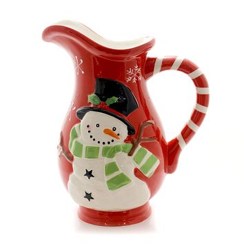 Tabletop SNOWMAN WINTER'S PITCHER Ceramic Red Candy Cane 178886