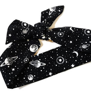 Head Scarf, Galaxy Black and White, Planets, Dolly Bow, Knotted Headband, Top Knot, Head Wrap, Top Knot Headband for Women, Retro Headband