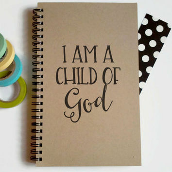 Writing journal, spiral notebook, cute diary, small sketchbook, scrapbook, memory book, 5x8 journal - I am a child of God, faith journal