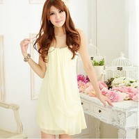 Sweet Lady Chiffon Tube Light Yellow Dress One Size | paradise - Clothing on ArtFire
