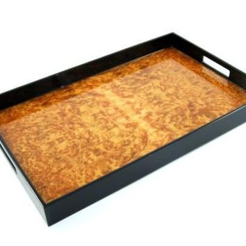 Burl Walnut Inlay Black Lacquer Breakfast Tray 22 x 14