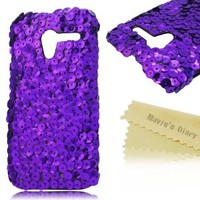 Mavis's Diary for Motorala Moto X Phone 3D Handmade Bling Sparkle Glitter Hard Cover Case with Soft Clean Cloth - Purple