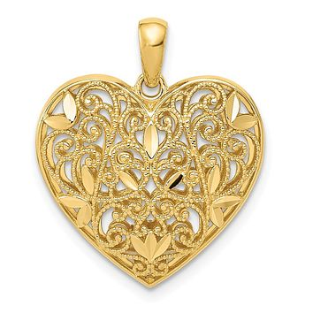 14K Yellow Gold Diamond Cut Polished Filigree Heart Pendant
