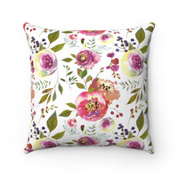 Pink Rose Square Pillow, Floral Decorative Throw Pillow, Feminine Decorative Throw Pillow, Throw Pillow for Women