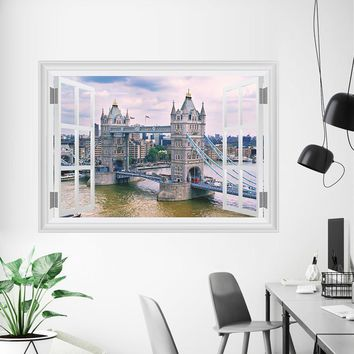 3D Window Tower Bridge Scenery Bedroom Wall Stickers