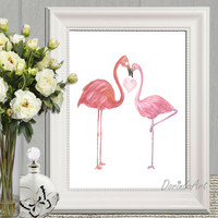 Couple gift idea Flamingo couple in love Valentine card printable Pink watercolor flamingo wall art Bedroom wall decor 5x7 8x10 11x14 16x20