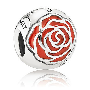 disney parks princess belle enchanted rose pandora jewerly charm new with pouch