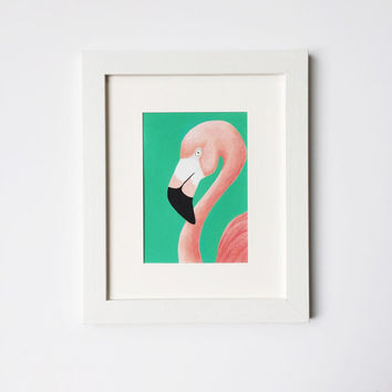 Flamingo Print, Pink Flamingo, Flamingo Art, Pink and Teal, Dorm Decor, Tropical Decor, 5 x 7, 8 x 10