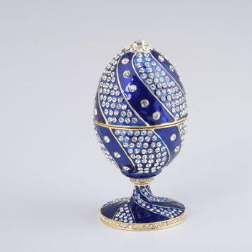 Blue Faberge Egg Handmade Trinket Box by Keren Kopal Decorated with Clear Swarovski Crystals