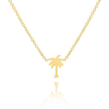 N00258 Choker Coconut Tree necklace collares mujer Stainless Steel Palm Tree Charm Pendant Necklace for Women Men collier femme