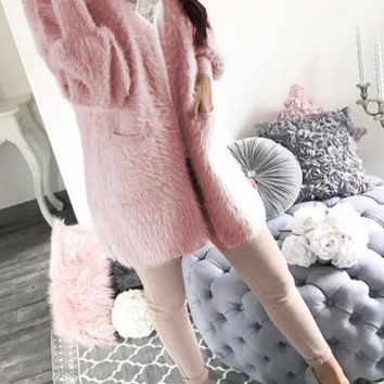 New Pink Pockets V-neck Long Sleeve Sweet Cardigan Sweater