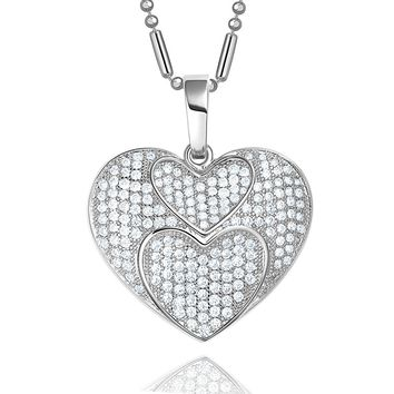 Fancy Stunning Three United Hearts Love Powers Amulet Silver-Tone Sparkling Crystals Necklace