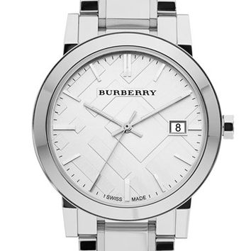 Burberry Large Check Stamped Bracelet Watch, 38mm