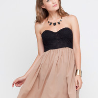 Motel Annali Strapless Black Bustier Dress in Taupe