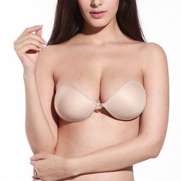 Sexy Sujetador Women Invisible Push Up Bra Self-Adhesive Silicone Seamless Front Closure Sticky Backless Strapless Bra A B C D