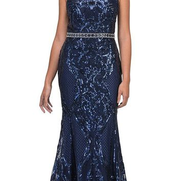 Navy Blue Sequins Mermaid Prom Gown Keyhole Back