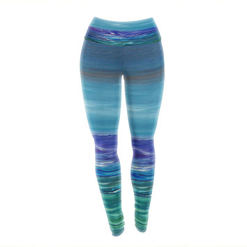 "Cyndi Steen ""Moonlit Waves"" Blue Purple Yoga Leggings"