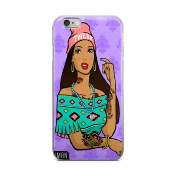 Hipster Pocahontas Cute Girly Girls Purple iPhone 4 4s 5 5s 5C 6 6s 6 Plus 6s Plus 7 & 7 Plus Case