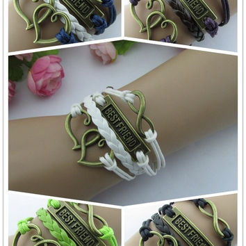 New Fashion Retro Love Hearts BEST FRIEND Leather Knit Rope Handmade Bracelet Friendship Gift 5 Colors
