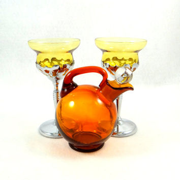 Vintage Amber Glass Decanter and Amber Glasses with Chrome Stems by Cambridge Glass Company