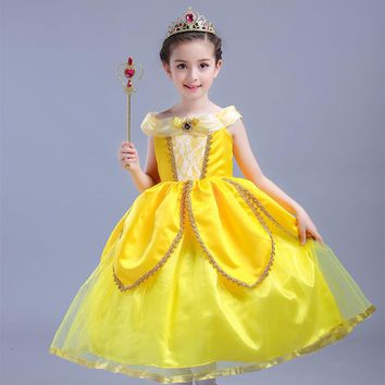 2017 New Moive Beauty And The Beast Belle Princess Dress Yellow Cosplay Children's Day Costume Performance Dress Clothes 10 Year