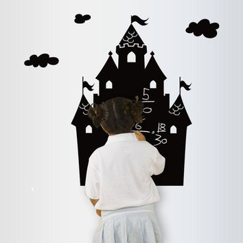 50x70cm Removable Chalk Board Blackboard Doodle Stickers Cartoon Castle Kids Bedroom Decor