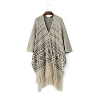 Geometric Tassel Sleeve Button Knitted Cardigan