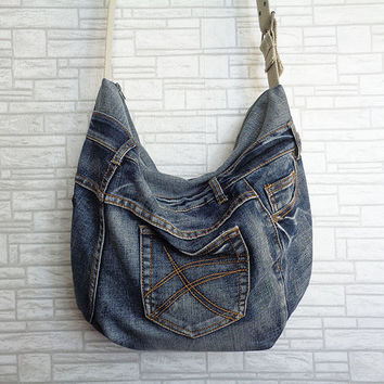 Slouchy Hobo bag tote handbag purse recycled upcycled denim