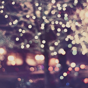 SALE Photography, Christmas Lights, Street Scene, Snowing, Tree Lights, Holiday, Night, December, Abstract, Mauve
