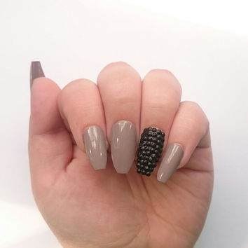 Nude Press On Ballerina Nails / Beige Glue On Nails Black Rhinestones / Matte Mocha / Long Coffee Stiletto Nails / Christmas / Halloween