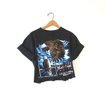 Wms 90's American BALD EAGLE Lac Du Flambeau Wildlife Outdoor WISCONSIN Cut Crop Top T-Shirt Sz L